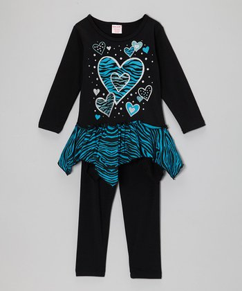 Black & Blue Heart Skirted Tunic & Leggings - Toddler & Girls