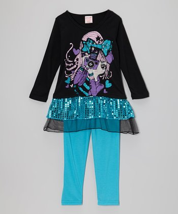 Black Camera Sequin Tunic & Turquoise Leggings - Toddler & Girls