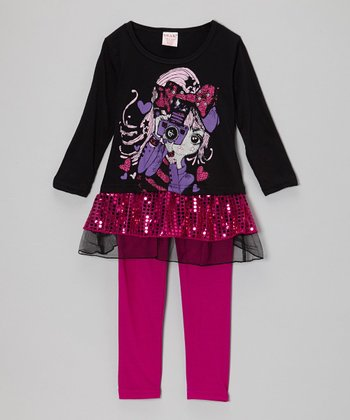 Black Camera Sequn Tunic & Fuchsia Leggings - Toddler & Girls