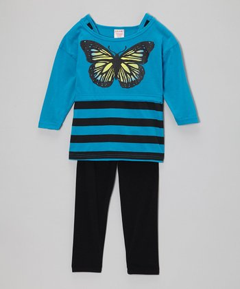 Turquoise Stripe Butterfly Tunic & Black Leggings - Girls