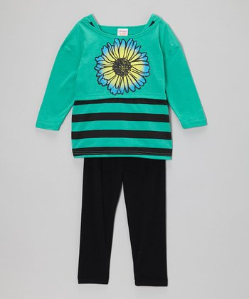 Green Stripe Bloom Tunic & Black Leggings - Girls