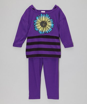 Purple Stripe Bloom Tunic & Leggings - Girls