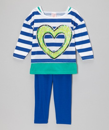 Royal Blue & Green Stripe Layered Tunic & Leggings - Girls