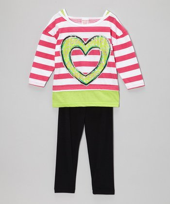 Fuchsia Stripe Layered Tunic & Black Leggings - Girls