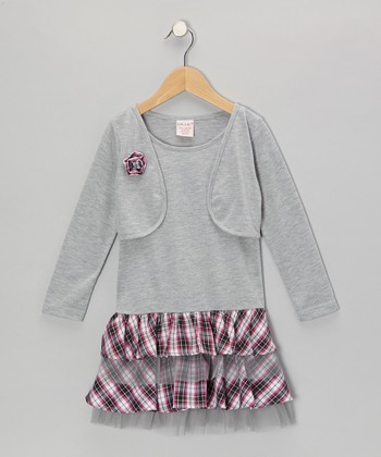 Gray Plaid Ruffle Layered Dress - Toddler & Girls