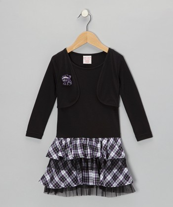 Black Plaid Ruffle Layered Dress - Toddler & Girls