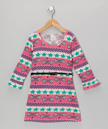 Pink Star Belted Dress - Girls