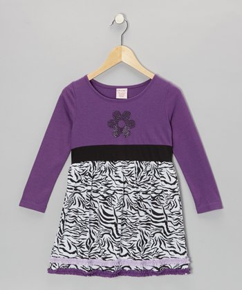Purple Flower Zebra Dress - Toddler & Girls