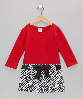 Red Zebra Bow Dress - Girls