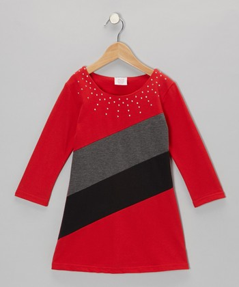 Red French Terry Dress - Girls
