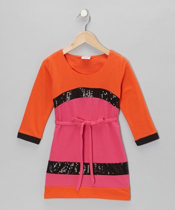 Orange Sequin French Terry Dress - Toddler & Girls