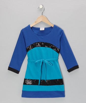 Blue Sequin French Terry Dress - Toddler & Girls