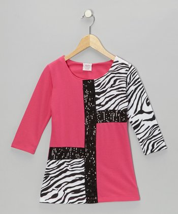 Pink Mod Zebra Terry Dress - Girls
