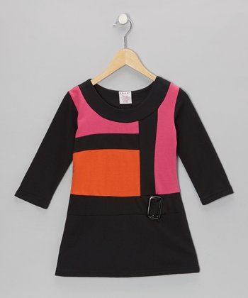 Orange Mod Terry Belt Dress - Girls
