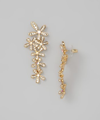 Gold Floral Crystal Drop Earrings