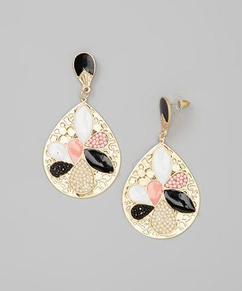 Gold & Pink Pearl Teardrop Earrings