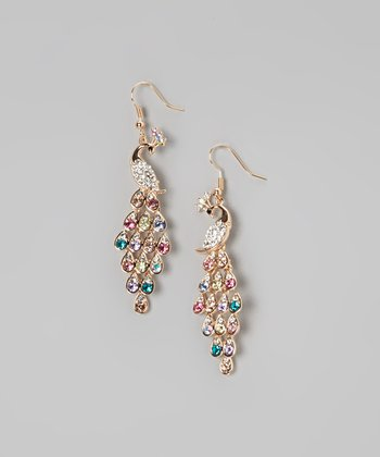 Gold & Rainbow Crystal Peacock Earrings