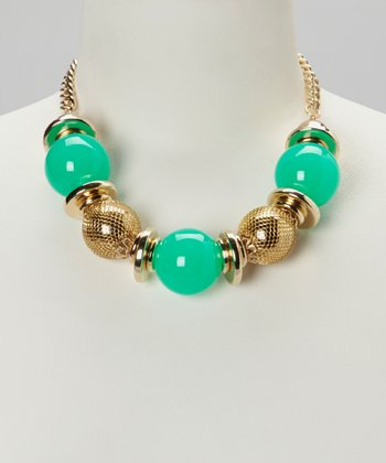 Aqua & Gold Bauble Necklace