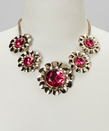Fuchsia & Antique Gold Floral Necklace