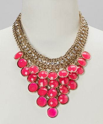 Hot Pink & Gold Crystal Necklace