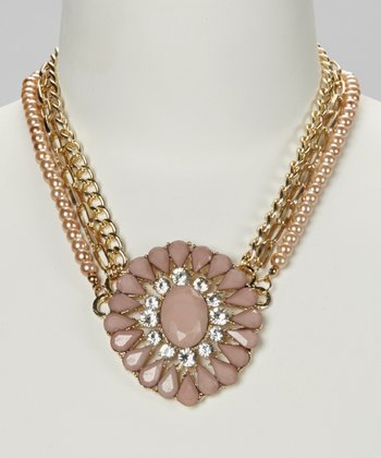 Taupe & Pink Crystal Layered Necklace
