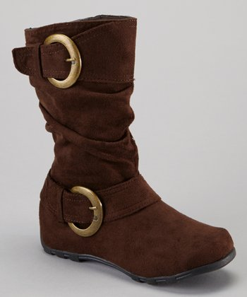 Brown Shiny Buckle Boot