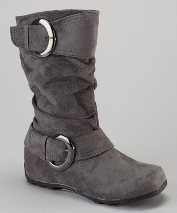 Gray Shiny Buckle Boot