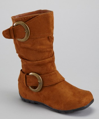 Tan Shiny Buckle Boot