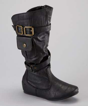 Black Pocket Zipper Boot