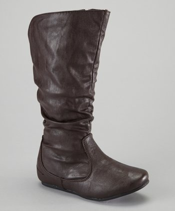 Brown Zipper Boot
