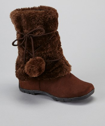Brown Pom-Pom Fuzzy Boot