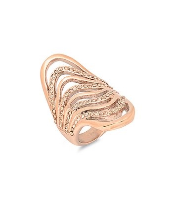Diamond & Rose Gold Wave Ring
