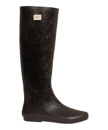 Black Festival Snake Rain Boot - Women