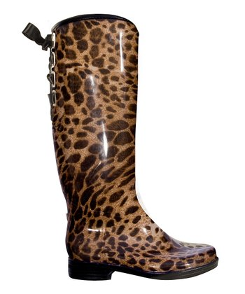 Black & Brown Leopard Victoria Rain Boot - Women