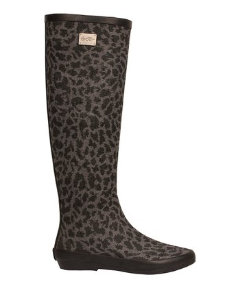 Gray Animal Knee-High Rain Boot - Women