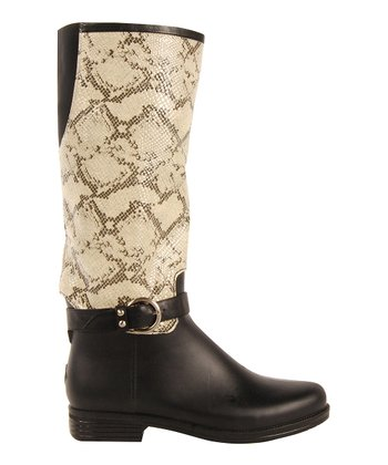 Black English Snake Rain Boot - Women