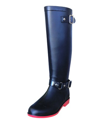 Red & Black Belted Equestrian Rain Boot - Women