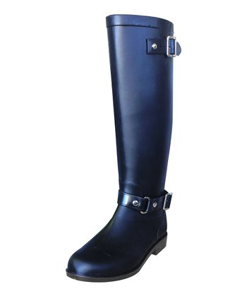 Black Belted Equestrian Boot - Women