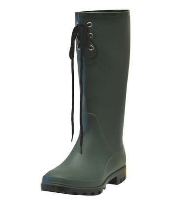 Green Lace-Up Rain Boot