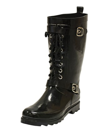 Black Moto Lace Rain Boot - Women