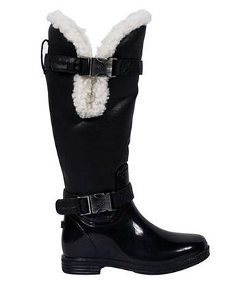 Black Shearling Cuff Rain Boot - Kids