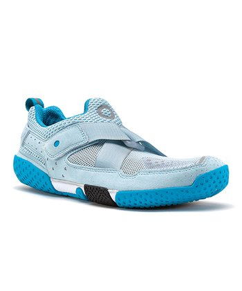Light Blue & White Base Running Shoe - Women
