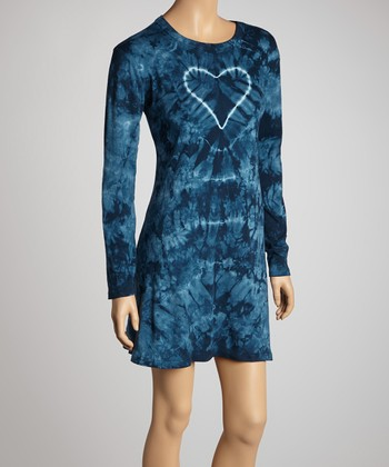 Blue Groovy Denim Tie-Dye Long-Sleeve Dress - Women