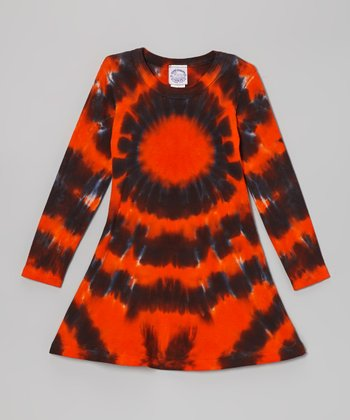 Orange Halloween Burst Tie-Dye Long-Sleeve Dress - Women