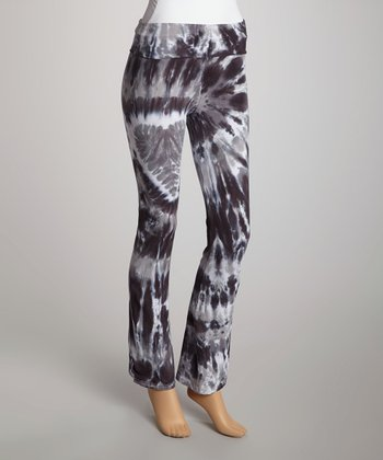 Charcoal Heart Tie-Dye Yoga Pants - Women