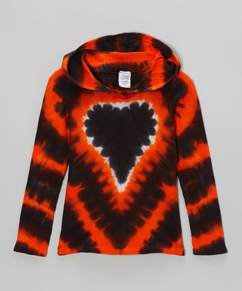 Orange Halloween Heart Tie-Dye Hoodie - Toddler & Girls