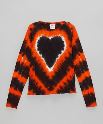 Orange Halloween Heart Tie-Dye Long-Sleeve Tee - Toddler & Girls