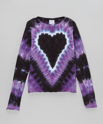 Purple Witchy Heart Tie-Dye Long-Sleeve Tee - Toddler & Girls