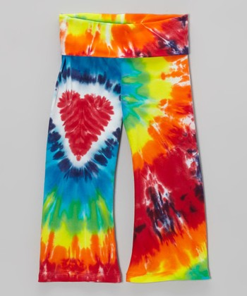 Rainbow Heart Tie-Dye Yoga Pants - Toddler & Girls