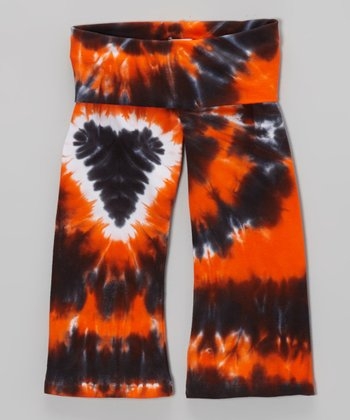 Orange Halloween Heart Tie-Dye Pants - Toddler & Girls